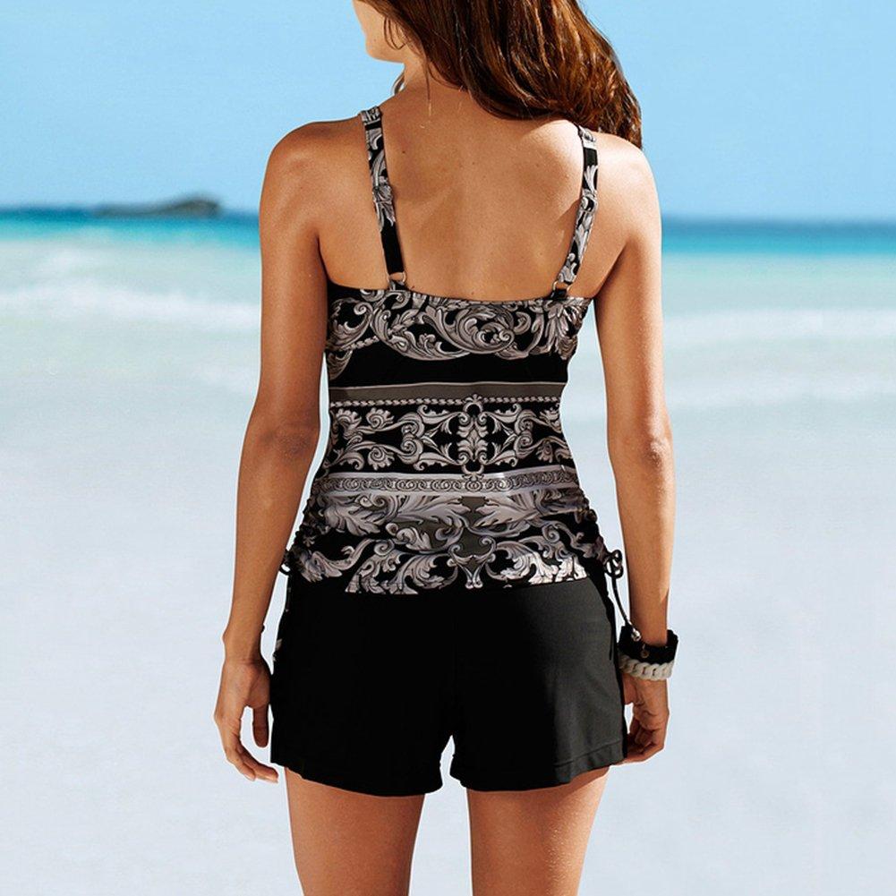 iBaste Tankini Damen Push Up Badeanzug Bikini mit Badehose Swimsuit Bademode gro/ße gr/ö/ßen