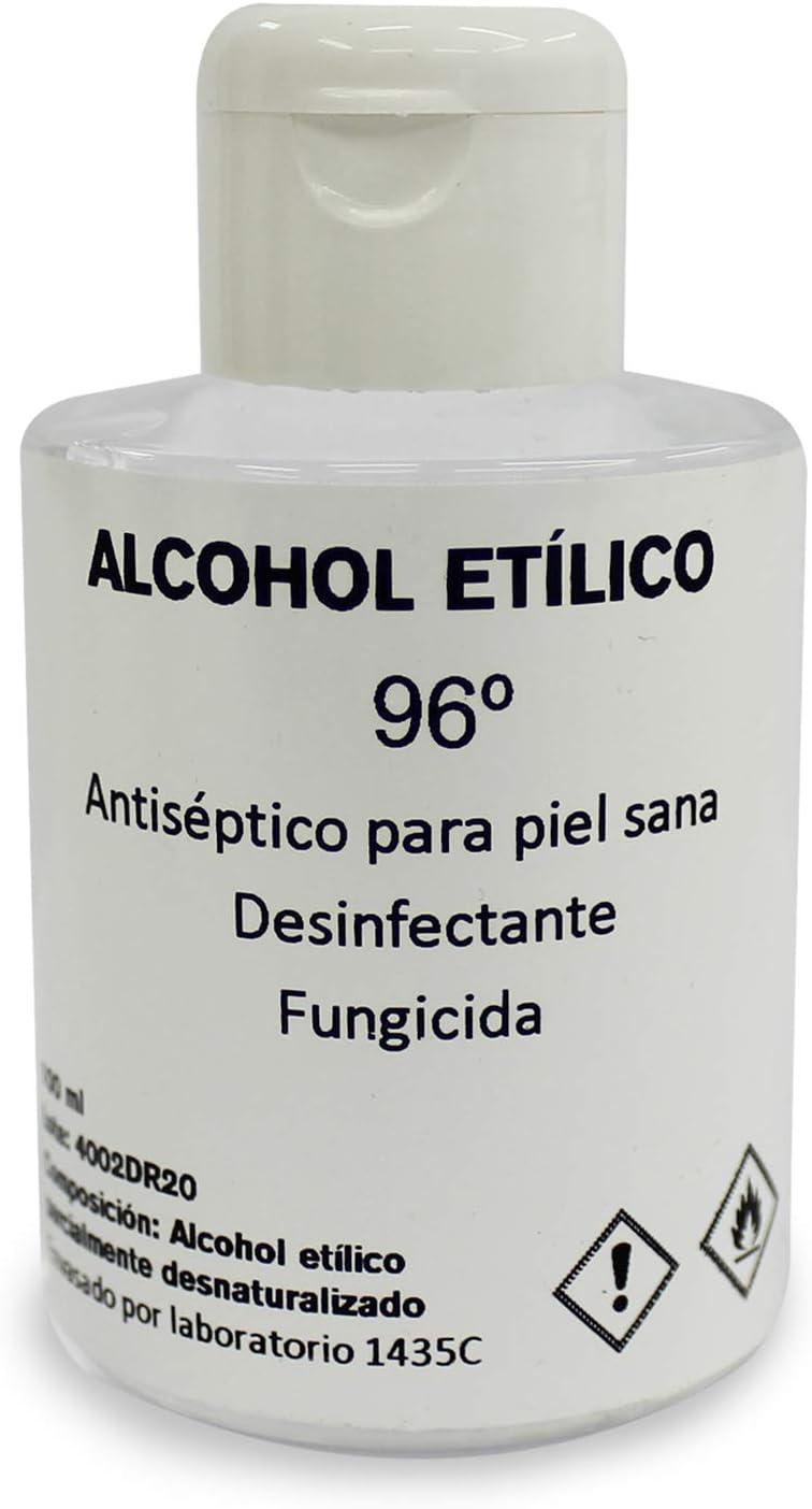 Alcohol Etílico (Etanol) 96º Pack 3 uds x 100ml - Desinfectante de Superficies, Componente para Cosméticos