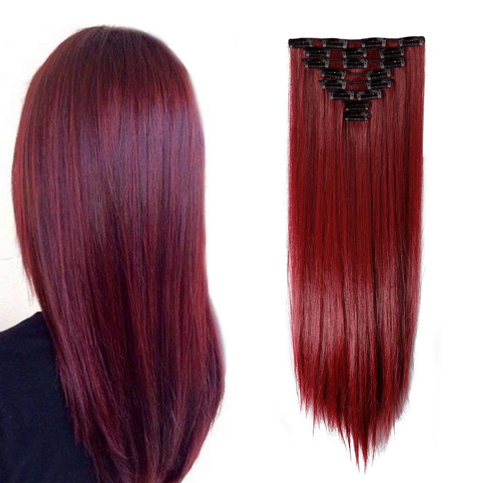 Synthetic Hair Extensions Clip on Japanese Kanekalon Fiber Hairpieces Full Head Thick Long Straight Soft Silky 8pcs 18clips for Women Girls Lady Fashion and Beauty 26'' / 26 inch (Maroon Mix Dark Red)