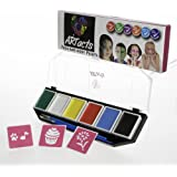 ARTacts Face Paint Kit For Kids- 6 Color Paints- 2 Brushes And Stencils Comes In A Pallet For Easy Mixing Nontoxic And Waterbased Sutiable For Childrens Senstive And Hypoallergenic Skins FDA Approved