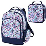 Cheap Sophie Paisley Pink Blue 2 Piece Polyester Zippered Backpack & Lunch Box Bag Set