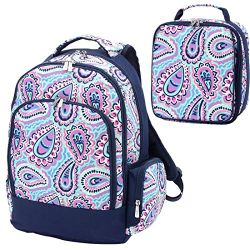 Blue 2 Piece Polyester Zippered Backpack & Lunch Box Bag Set (Two Zippered Main Pockets)