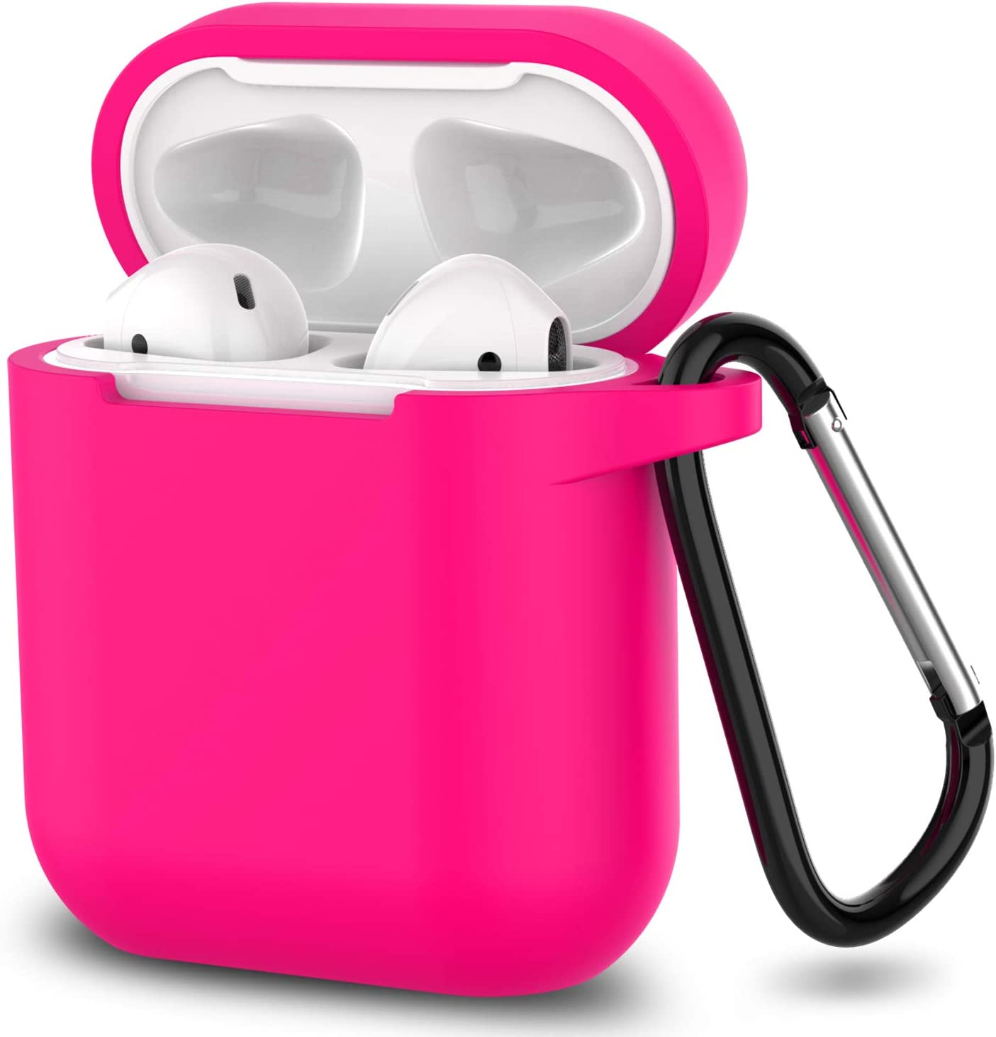 AirPods Case, SATLITOG Protective Silicone Cover Compatible with Apple AirPods 2 and 1((Rose Red)