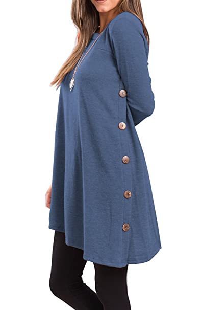 399a8681875 Fantastic Zone Women s Long Sleeve Casual Loose Scoop Neck Button Side  Sweater Tunic Dress