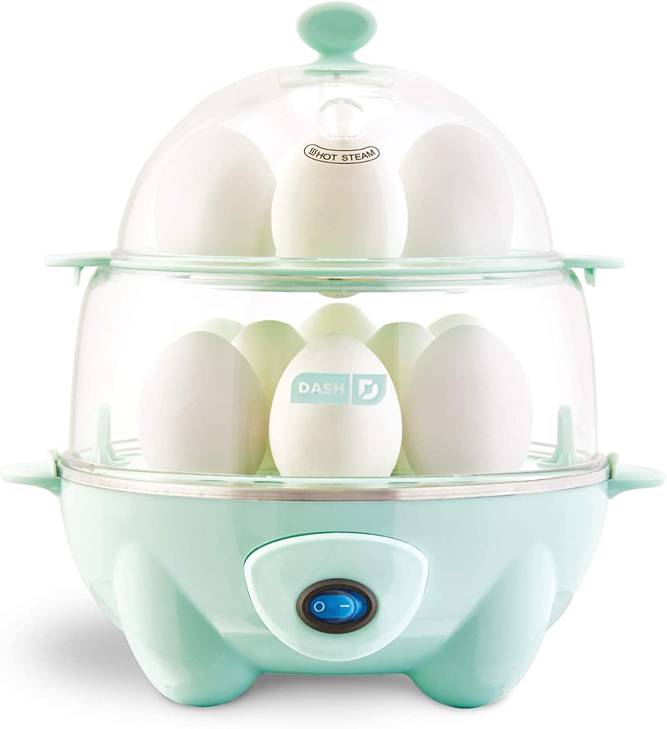Dash DEC012AQ Deluxe Rapid Egg Cooker: Electric, 12 Capacity for Hard Boiled, Poached, Scrambled, Omelets, Steamed Vegetables, Seafood, Dumplings & More with Auto Shut Off Feature Aqua (Renewed)