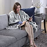 Serta Snuggler Electric Heated Cape/Throw Blanket, Grey