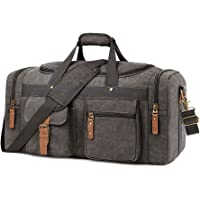 Plambag Oversized Canvas Duffel Bag Overnight Travel Tote Weekender Bag(Grey)