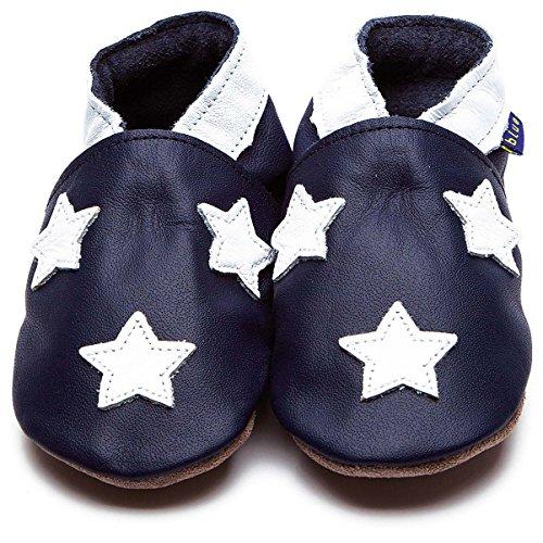 Inch Blue Jungen Schuhe für den Kinderwagen aus luxuriösem Leder - Weiche Sohle - Sternchen Dunkelblau/Weiß