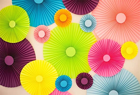 Amazon Com Aofoto 5x3ft Paper Fans Pattern Backdrop Vinyl Bright Color Round Folding Flowers Background For Photography At Birthday Party Wedding Events Decoration Newborn Baby Portrait Photo Studio Props Camera