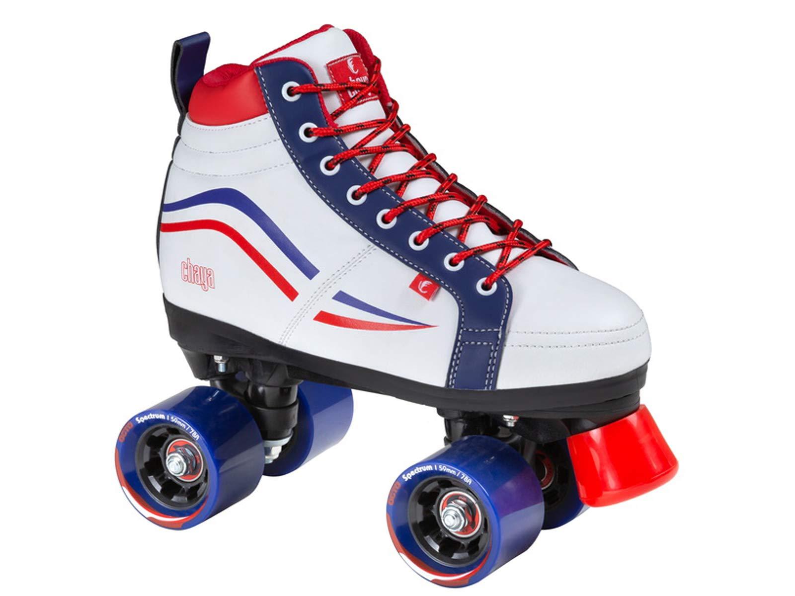 Chaya New Vintage Glide White Red & Blue Quad Roller Skates - Vegan (Euro 39 / US 8)