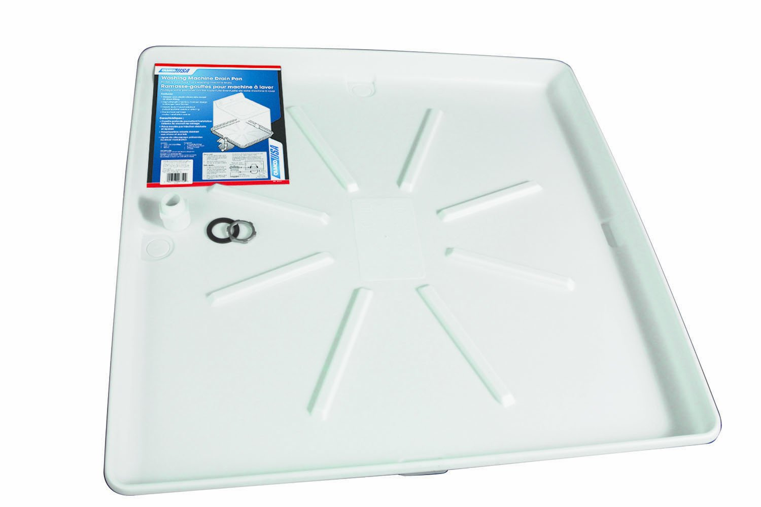 Camco Washing Machine Drain Pan w/PVC Fitting 32''OD x 30'', Collects Water Leakage From Underneath Washing Machine and Prevents Floor Damage- White (20752) by Camco