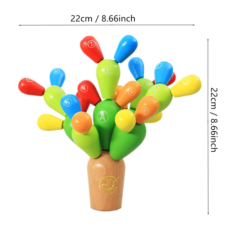 DQTYE en Bois /Équilibrage Cactus Blocs de Construction Jouets Assembl/ée Empilable des Plantes Arbres De Construction Jeux DIY Maison D/écoration Creative Jouet /Éducatif