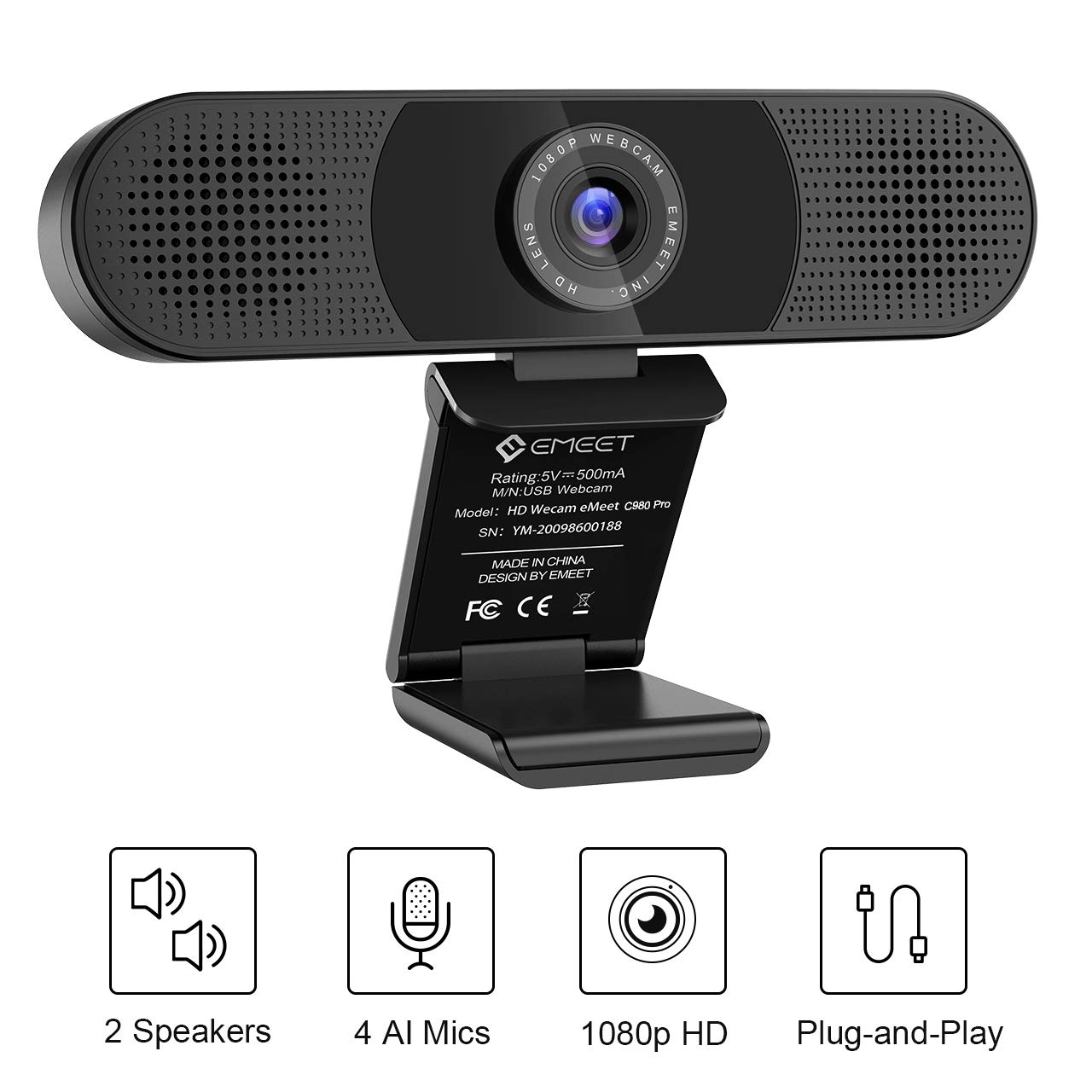 3 in 1 Webcam - eMeet C980 Pro HD Webcam, 2 Speakers and 4 Built-in Omnidirectional Microphones arrays, HD 1080P Webcam for Video Conferencing, Streaming, Noise Reduction, Plug & Play, w/Webcam Cover by eMeet