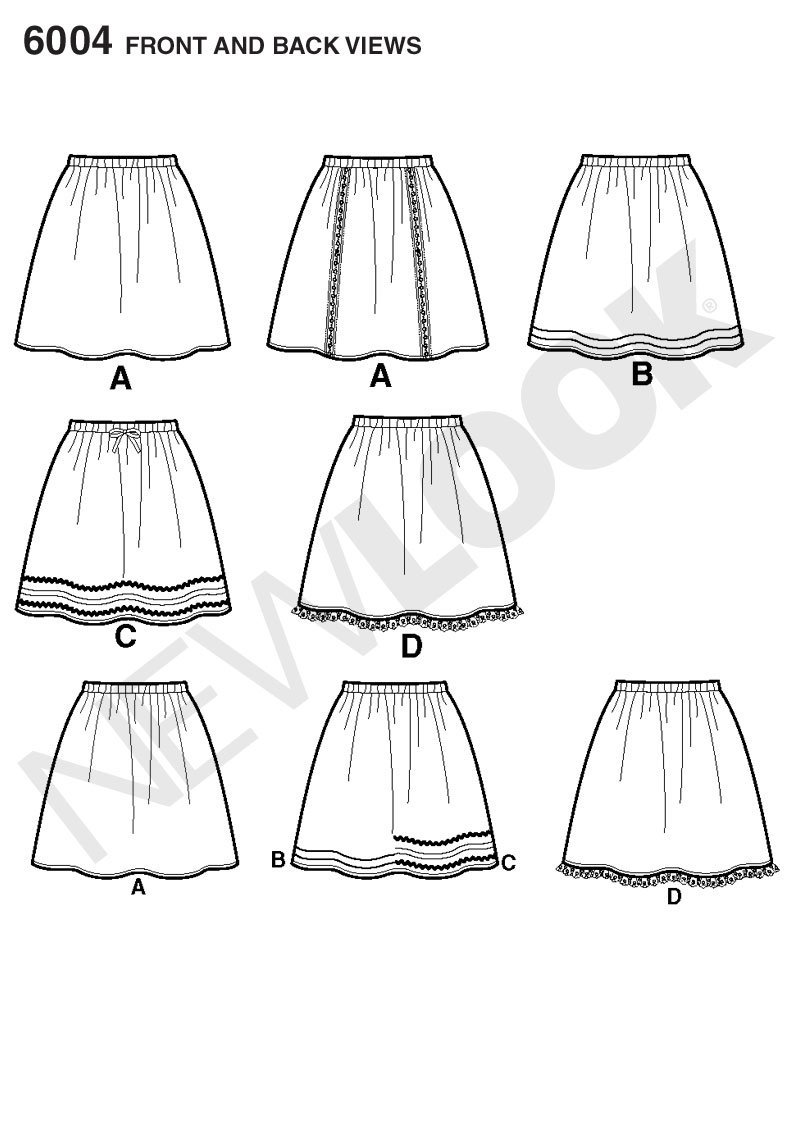 New Look A 4-6-8-10-12-14-16 Sewing Pattern 6004 Misses Learn to Sew Skirt