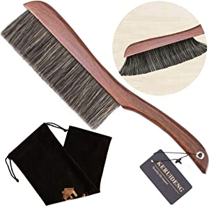KERUIDENG Hand Broom-Soft Bristles Dusting Brush- Dusters for Cleaning Home Furniture Hotel Office Car, Long Wood Handle,15''Length