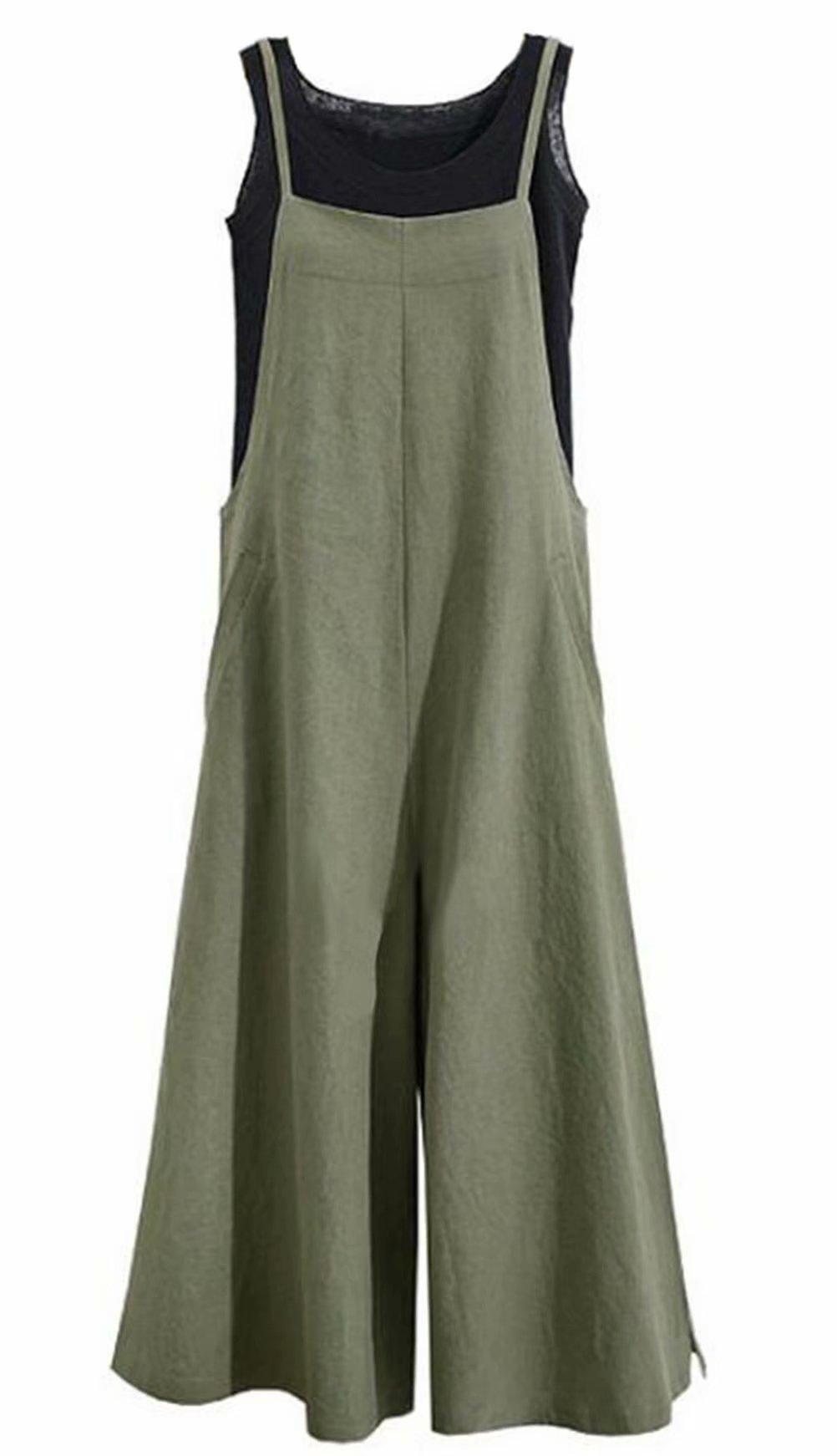 MAXIMGR Women's Plus Size Casual Cotton Suspender Jumpsuit Long Twin Side Bib Wide Leg Overalls Size L (Green)