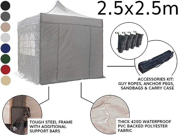 AIRWAVE Essential-Cenador con Laterales (2, 5 x 2, 5 m), Negro: Amazon.es: Jardín