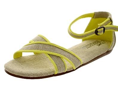 8c6d2dd3b75c TOMS Women s Correa Sandal Neon Trim Burlap Size 6 B(M) US