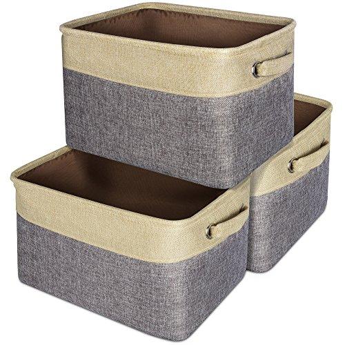 Collapsible Storage Basket, Packism 3 Packs Rectangular Storage Bin with Dual Handles Cotton Jute Storage Organizer for Storing Clothes, Kids Toys, Dark Grey & Beige