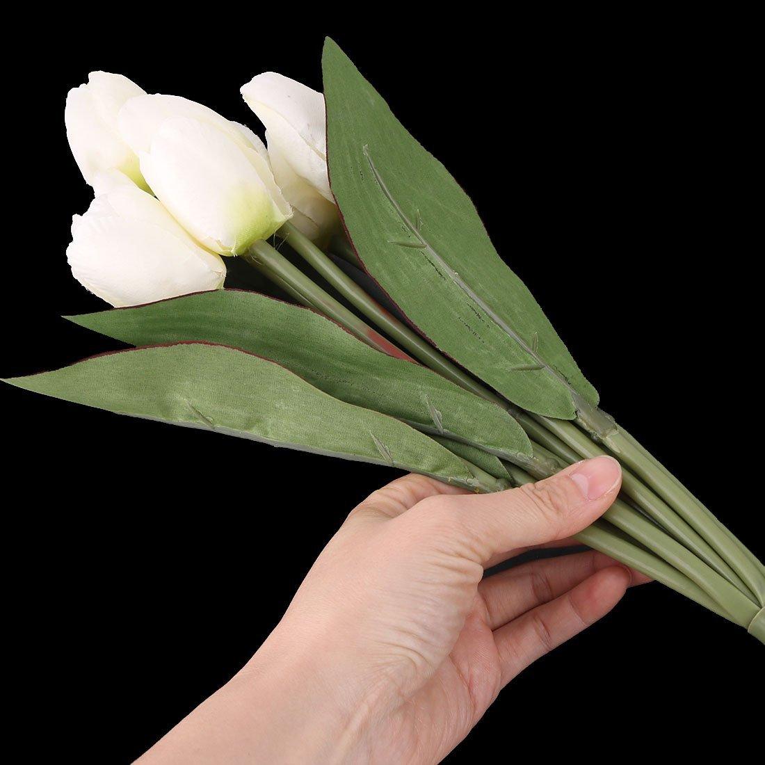 Amazon.com: eDealMax plástico dormitorio DIY del ornamento de Los tulipanes artificiales de la simulación de la Flor Blanca: Home & Kitchen