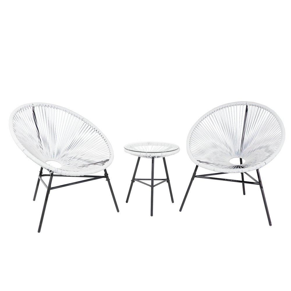 Set 2 Sedie e Tavolino da Esterno Color Bianco da Balcone e Terrazzo Acapulco Beliani