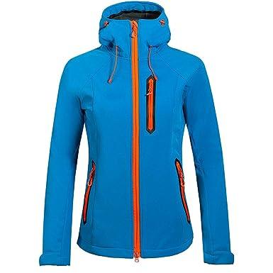 emansmoer Femme Coupe-Vent Doublé Polaire Veste Softshell Imperméable  Outdoor Sport Veste de Randonnée Escalade 6a4b76a1e785
