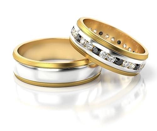 Anillos de matrimonio de oro blanco y amarillo