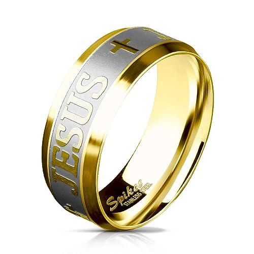 Paula & Fritz Anillo de acero inoxidable cepillado, anillo de compromiso, con cruces y la palabra «Jesus» grabadas en la parte exterior, para hombre y mujer ...