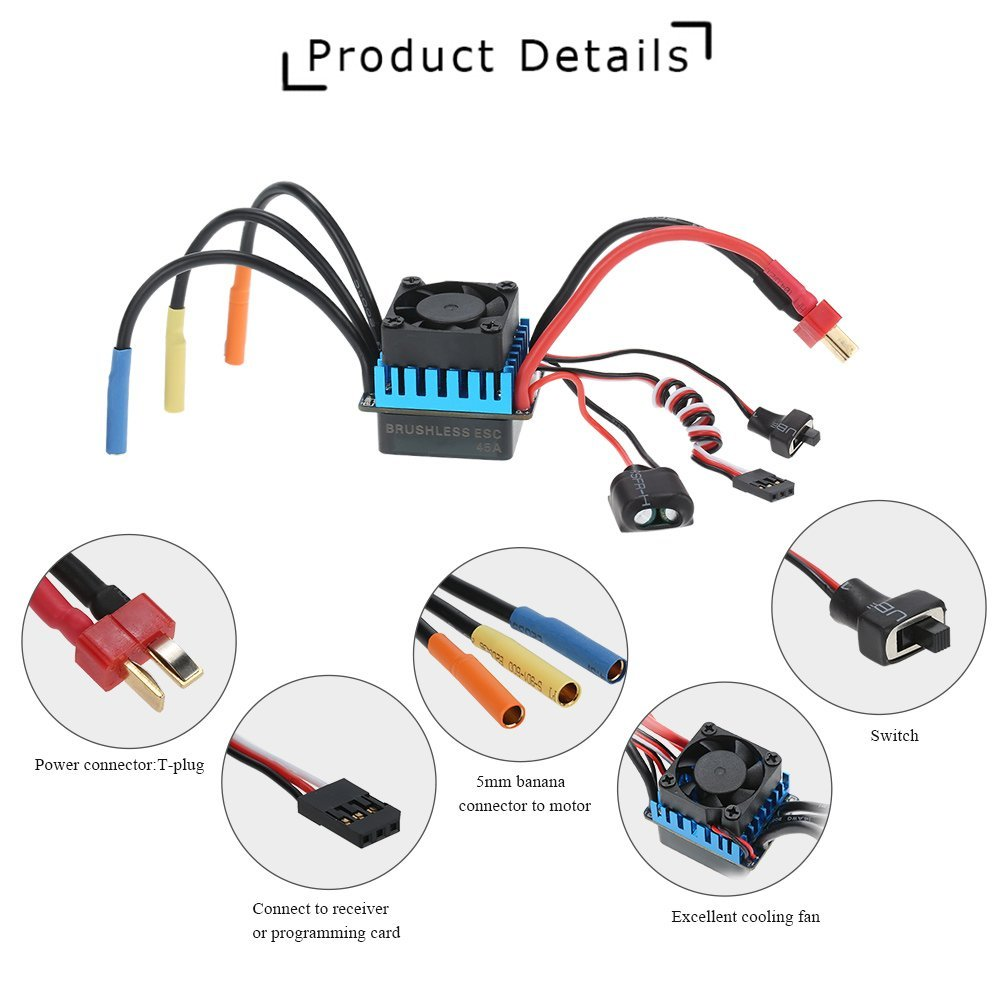 Brushless Esc Wiring Diagram Car Trusted Diagrams Amazon Com Goolsky 3650 3300kv 4p Motor 45a Electric