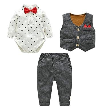b60b6442493d3 Kanodan Baby Boy Waistcoat Gentleman Suit Long Sleeve 3 Pieces Wedding  Outfits (Grey, 12