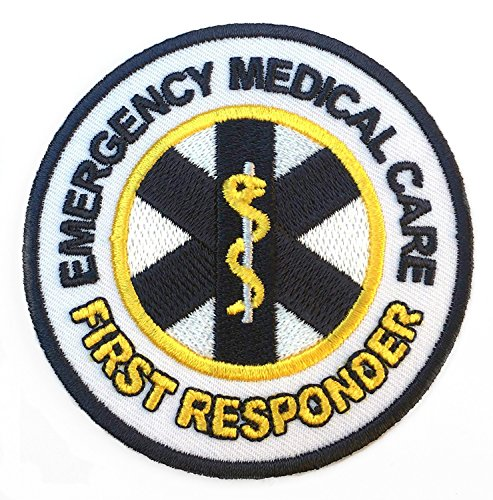 Emergency Medical Care First Responder Patch Embroidered Iron on Badge / 3 Inch DIY Applique First Aid CPR AED -