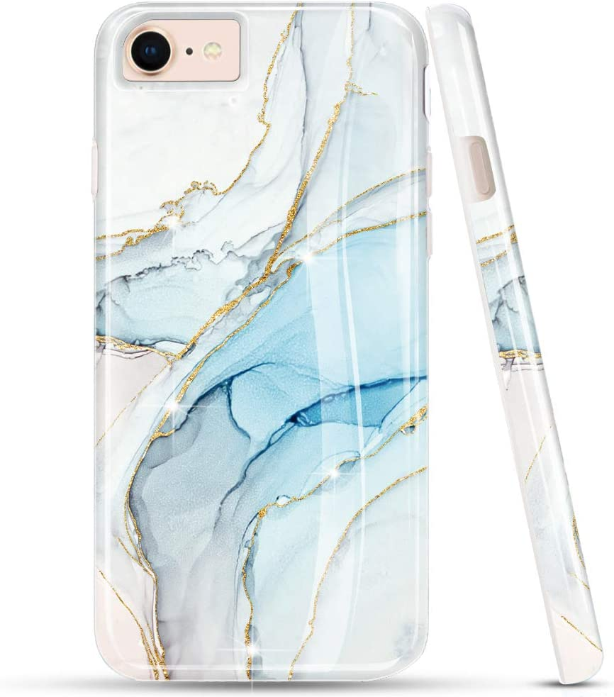 LUOLNH iPhone Se 2020 Case,iPhone 7 8 Case,Bling Glitter Sparkle Rose Gold Marble Design Clear Bumper Glossy TPU Soft Rubber Silicone Skin Cover Case for iPhone Se 2020/6 6s 7 8(White&Blue)