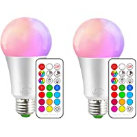 iLC Colour Changing Light Bulb Dimmable 10W E27 Edison Screw RGBW LED Light Bulbs RGB Coloured - 12 Color Choices - Remote Controller Included (Pack of 2)