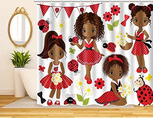 ArtRena Fabric Shower Curtain, Dark-Skinned, Black Girls with Lady Bugs, Waterproof and Mildew Resistant, 71