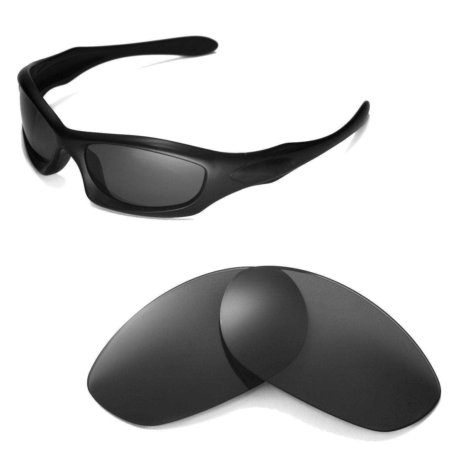 Walleva Replacement Lenses for Oakley Monster Dog Sunglasses -Multiple Options Available (Black - Polarized) by Walleva