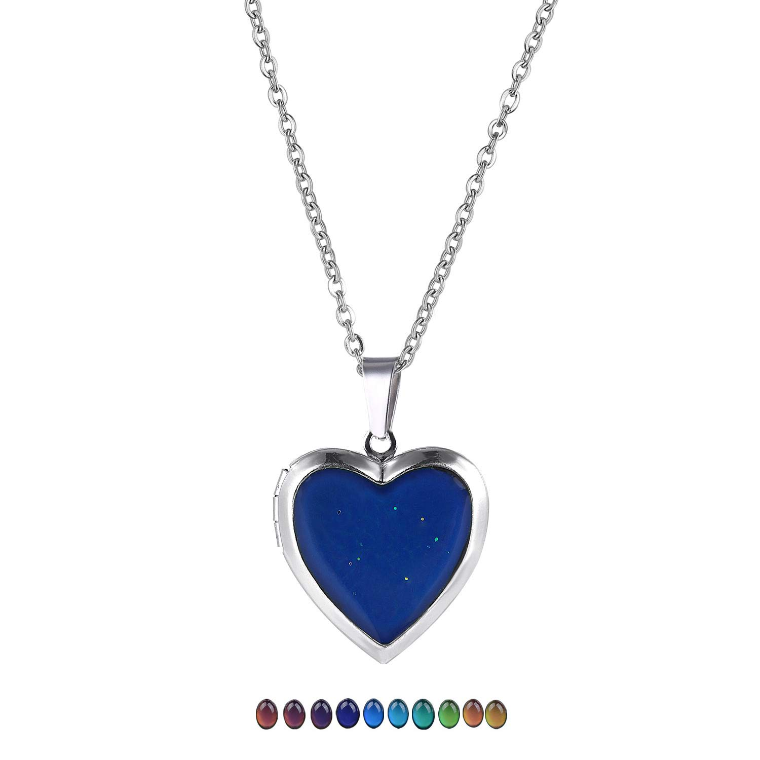 FM FM42 Temperature Sensing Color Changing Heart Openable Locket Pendant Necklace with 19.29 Stainless Steel Rolo Chain ZN1130