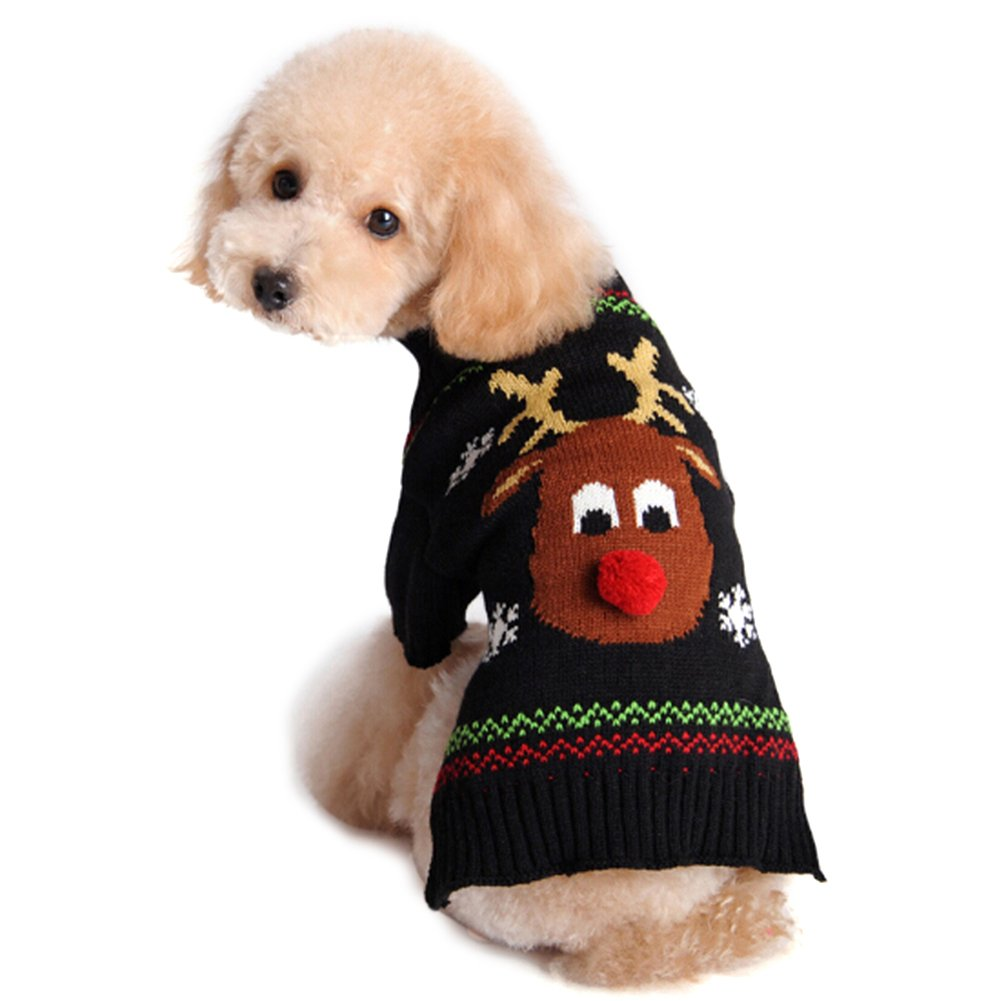 NACOCO Pet Holiday Festive Deer Reindeer Cat Sweater Dog Sweater Winter Clothing Teddy Poodle Autumn Winter Clothes Pet Clothes Dog Clothes (X-Small)