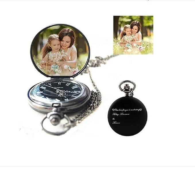 Reloj de Bolsillo Personalizado para Mujer/Hombre Foto Personalizada y Texto Grabado: Amazon.es: Relojes