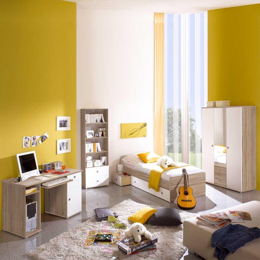 Pharao24 Kinderzimmermöbel Weiß Sonoma-Eiche