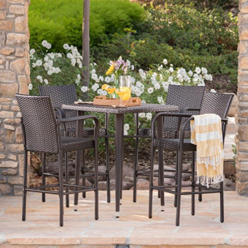 Colburn Outdoor 5 Piece Multibrown Wicker 32.5 Inch Square Bar Table Set by Great Deal Furniture