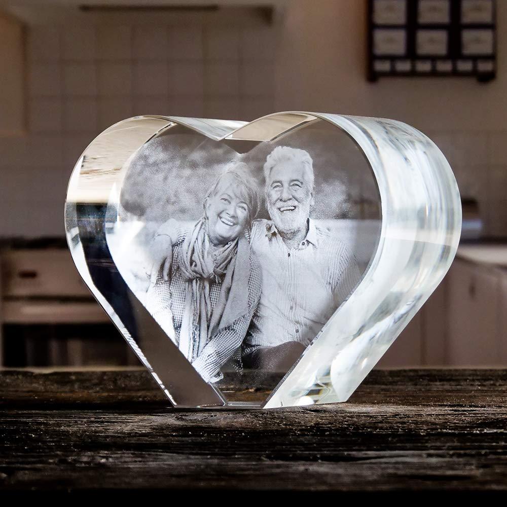 Isonio Cristal Corazón con Foto - su Propia Foto en un viamant ...