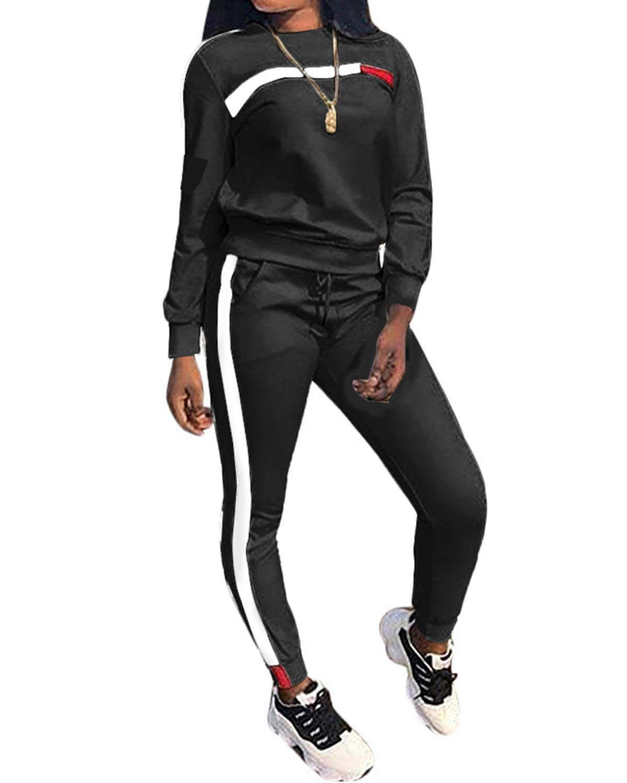 Top-Vigor Womens 2PCS Sweatsuits Set Long Sleeve Top and Bodycon Pants Jogging Suit Tracksuit for Women Ladies Plus Size Black by Top-Vigor