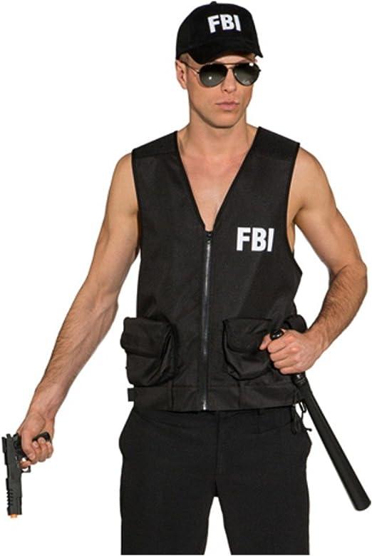 Orlob Karneval GmbH Chaleco del FBI para los Hombres Traje Negro ...