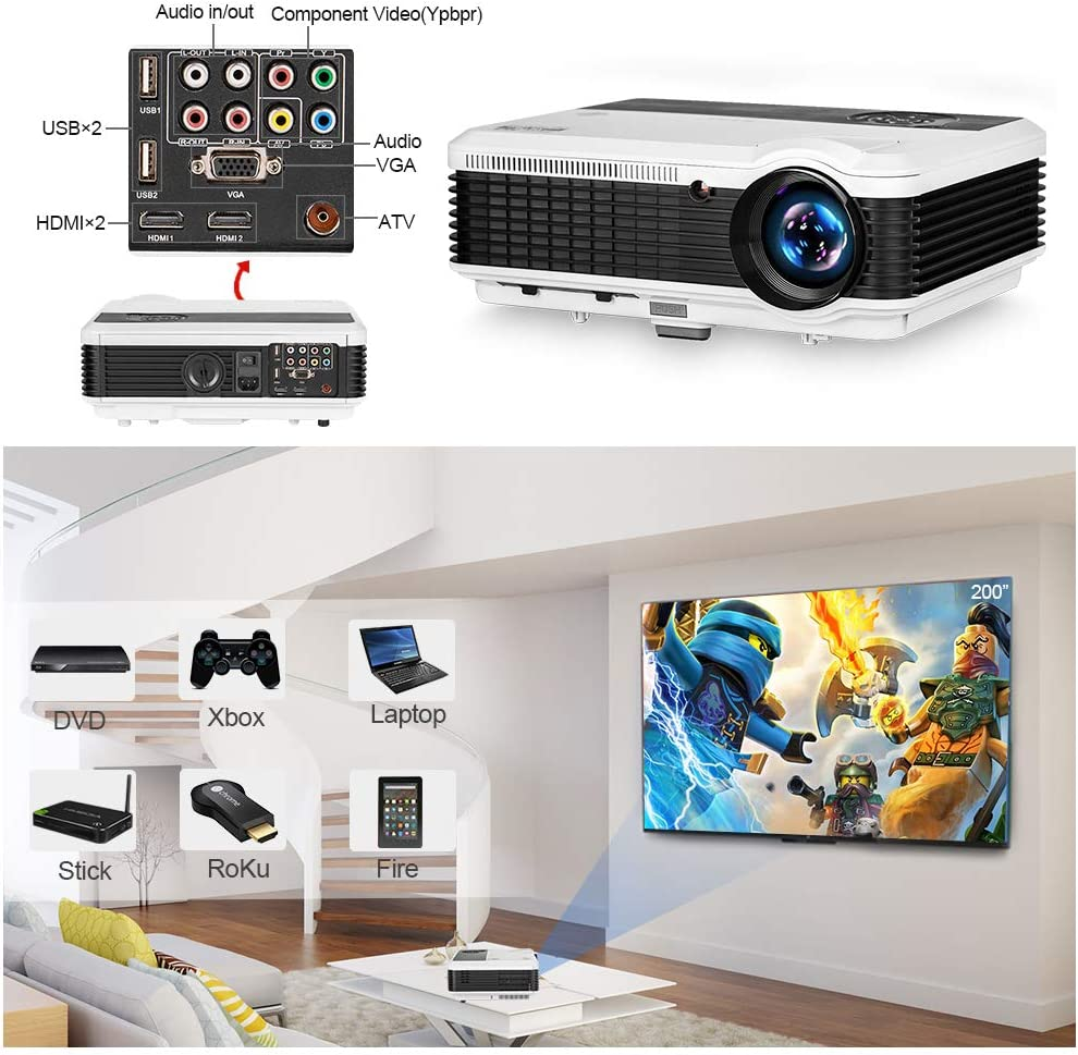 """EUG 4600 Lumens Digital Hd Multimedia Portable LCD Video Projector Home Cinema System 1080p Outdoor Projection with Hdmi VGA Usb Av Tv for Game Gaming Movie Effect 5.8"""" TFT"""
