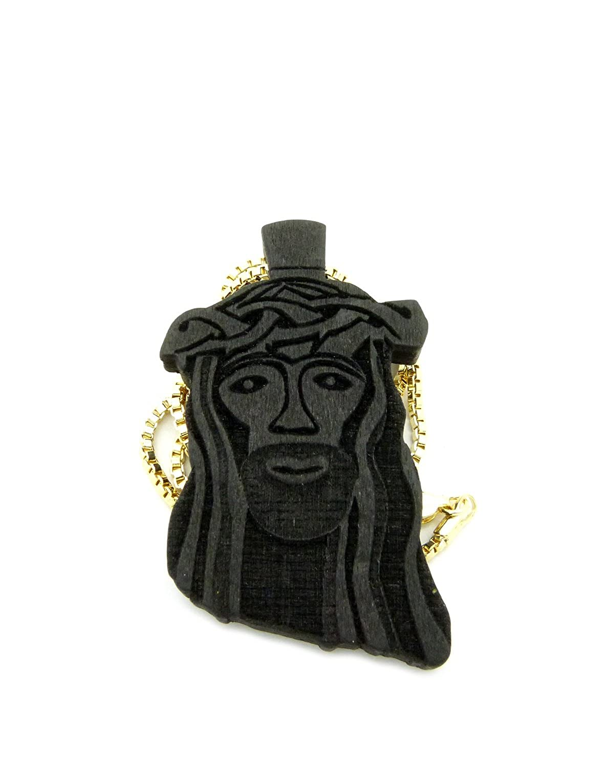 Wooden Jesus Face Pendant With Chain Necklace 2mm 24 Gold Tone