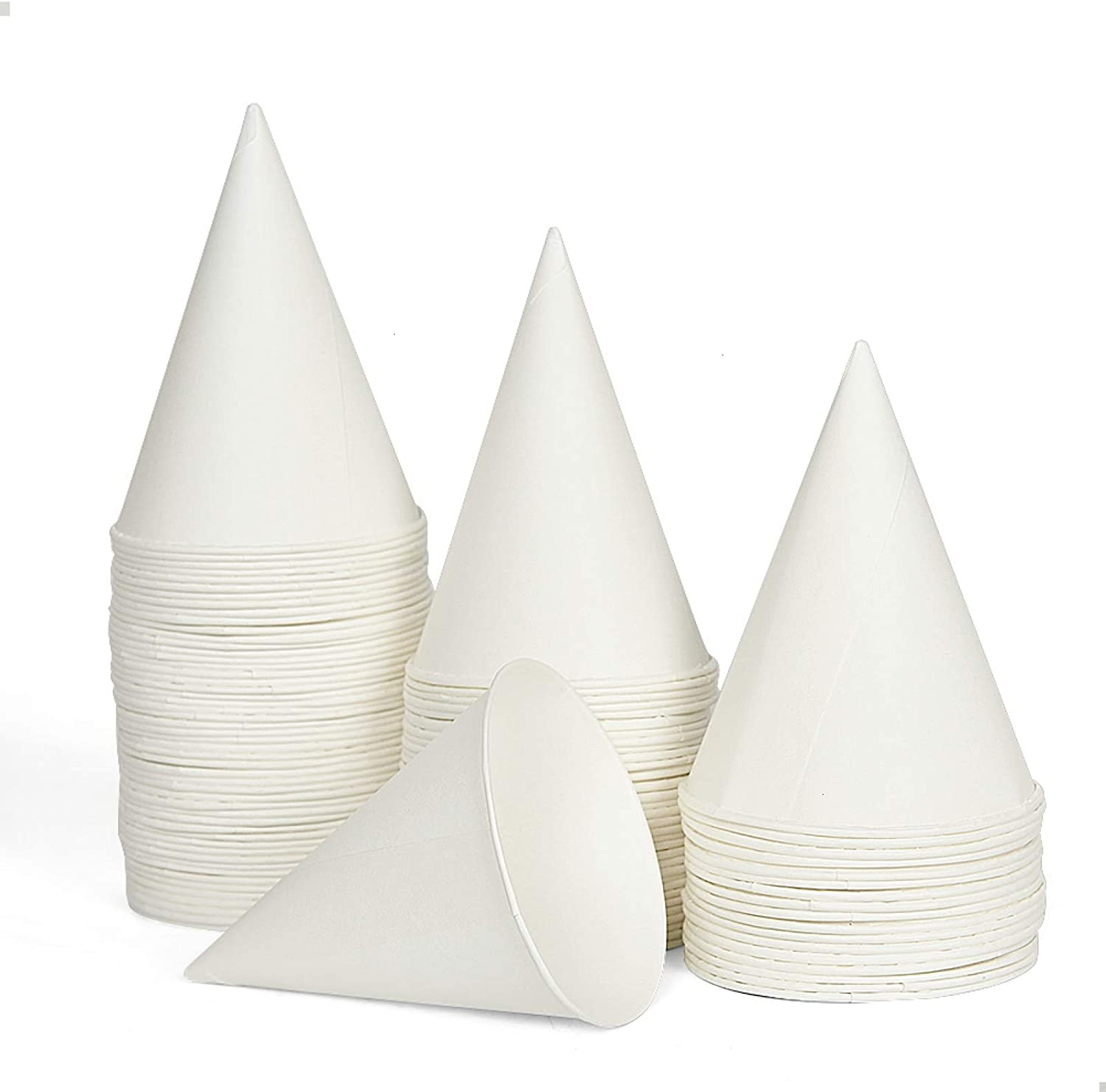 100 Snow Cone Cups, AQUEENLY Wax Coated Leakproof Cone Paper Cups for Slush, Shaved Ice, Water - 6OZ, White