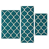 Maples Rugs Kitchen Rug Set - Rebecca [3pc Set] Non Kid Accent Throw Rugs Runner [Made in USA] for Entryway and Bedroom, Teal/Sand