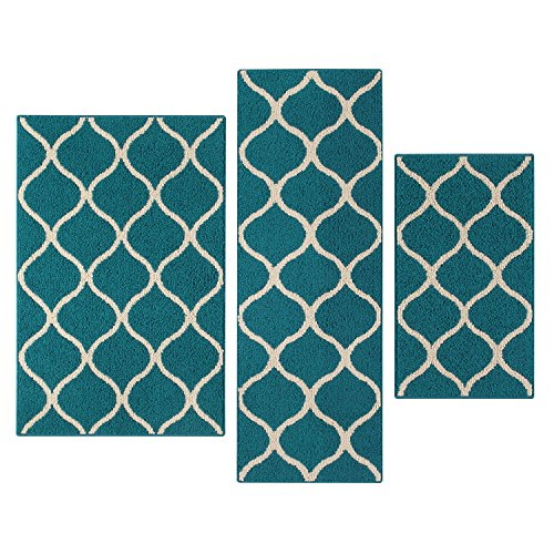 Maples Rugs Kitchen Rug Set - Rebecca [3pc Set] Non Kid Accent Throw Rugs Runner [Made in USA] for Entryway and Bedroom, Teal/Sand by Maples Rugs