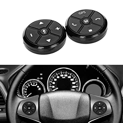 PolarLander Universal Wireless Car Steering Wheel Controller 4 Key Music DVD GPS Navigation Steering Wheel Radio Remote Control Buttons Black: Automotive