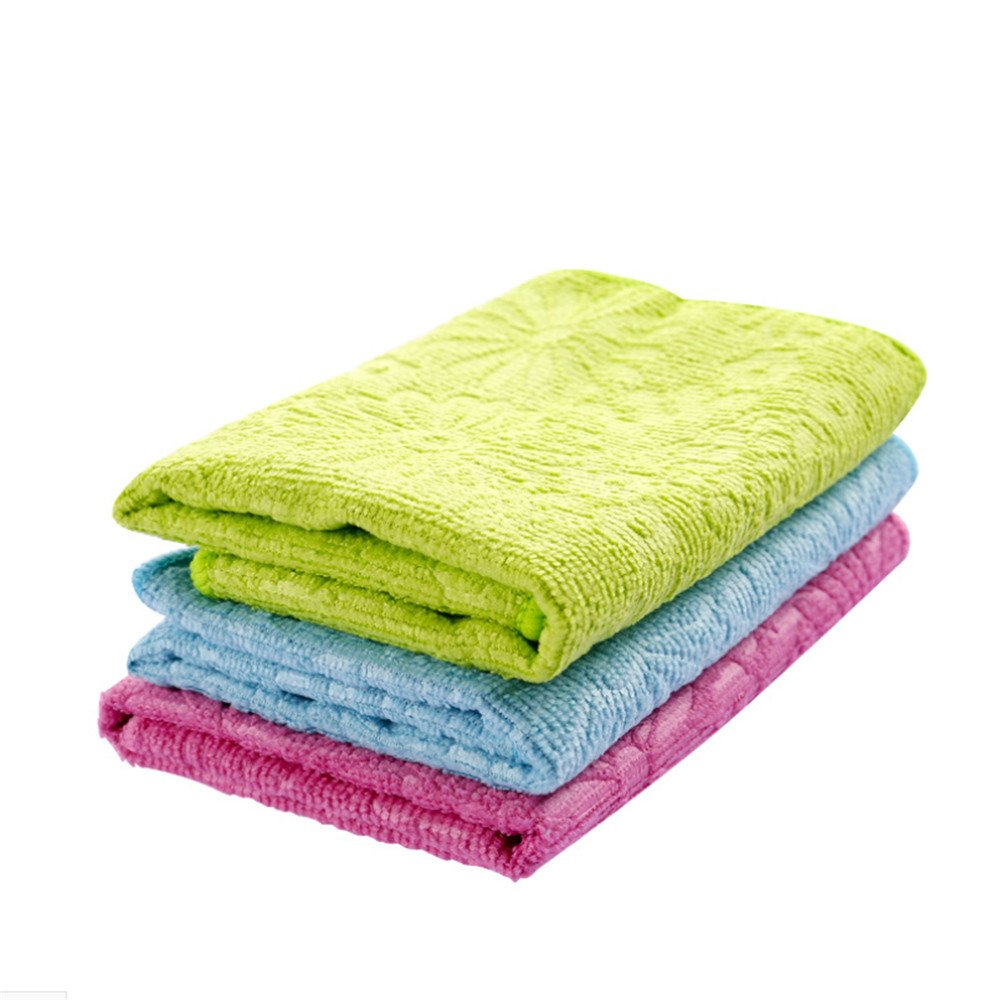 Loneflash Bamboo Fiber Hand Towels Premium Bamboo and Microfiber Blend for Cleaning,Quick-Drying Kitchen Dish Colths,Washing and Drying, Durable Reinforced Edging(Color at Random)